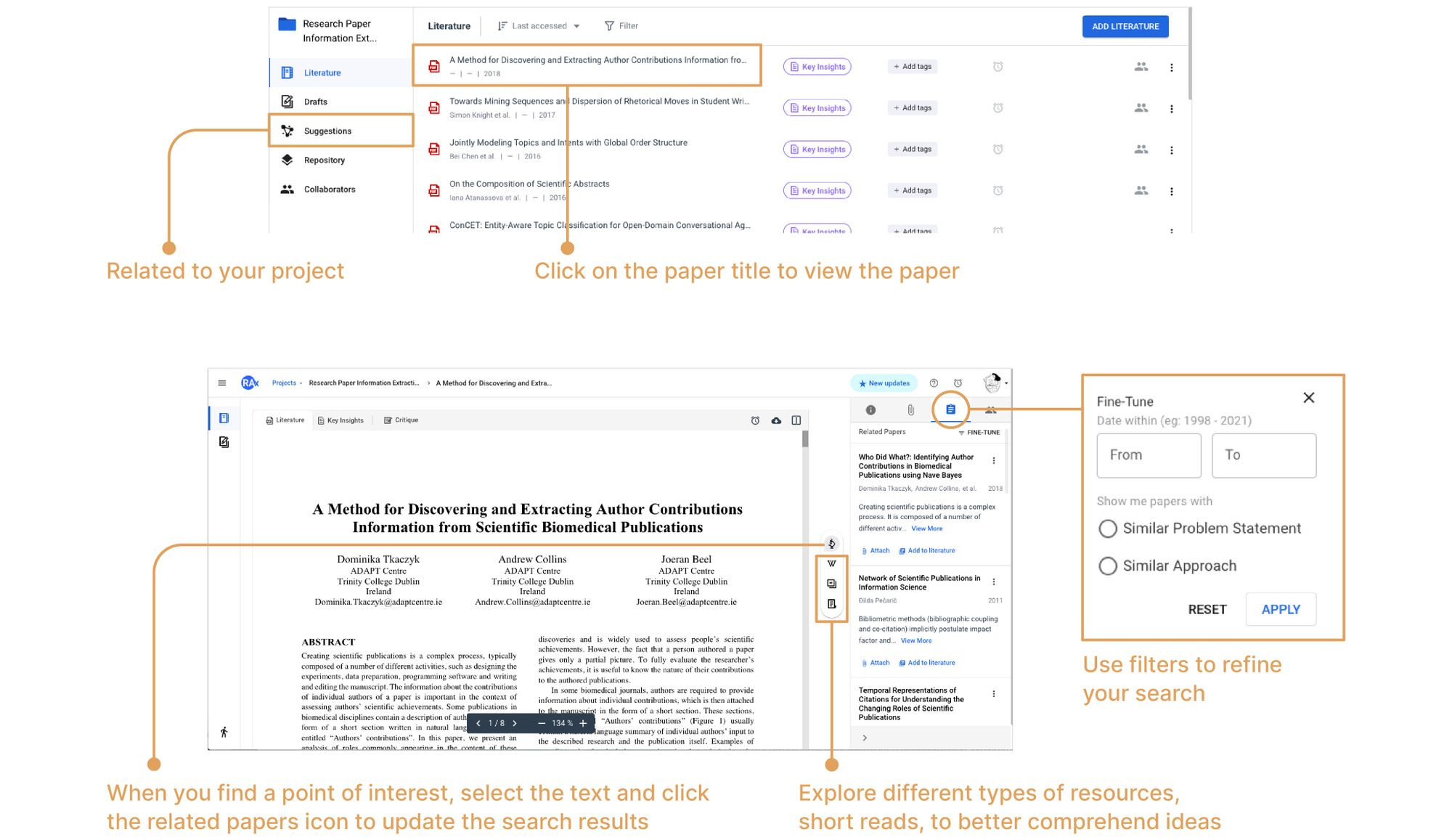 Explore related information from your project, paper or point of interest